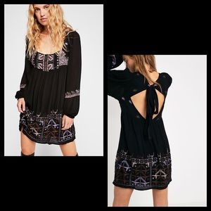 Rhiannon Embroidered black embroidered Mini Dress